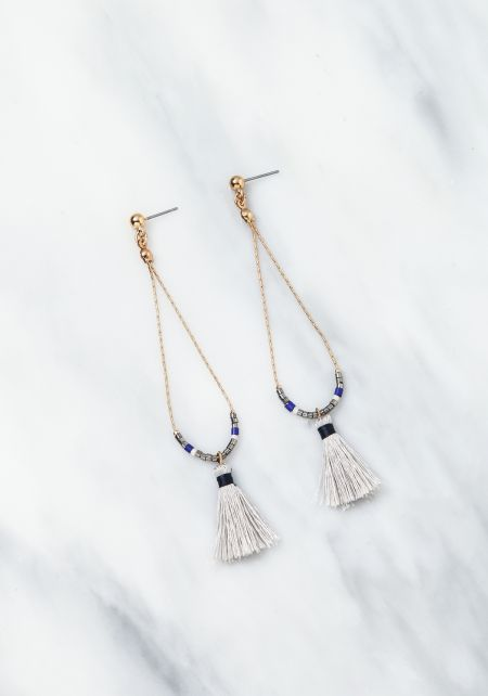 Grey Thin Chain Tassel Dangle Earrings