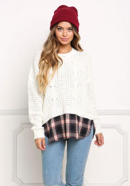 Ivory Plaid Trim Chunky Knit Sweater