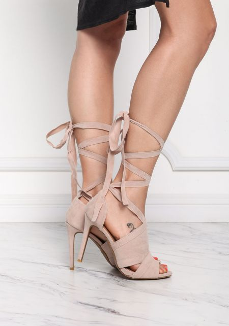Nude Suedette Lace Up Heels