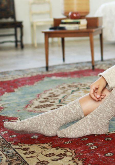 Beige Marled Knit Crew Socks