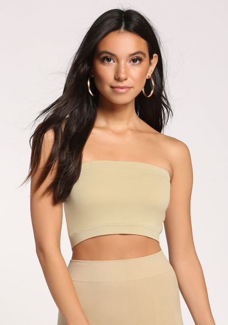 Khaki Bandeau Crop Top