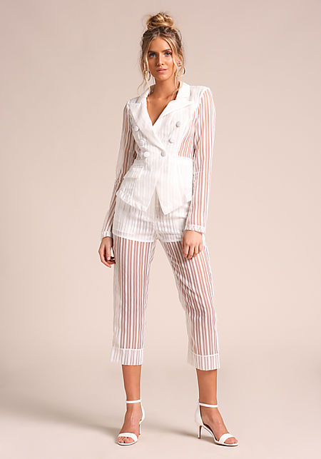 White Pinstripe Organza Cropped Pants