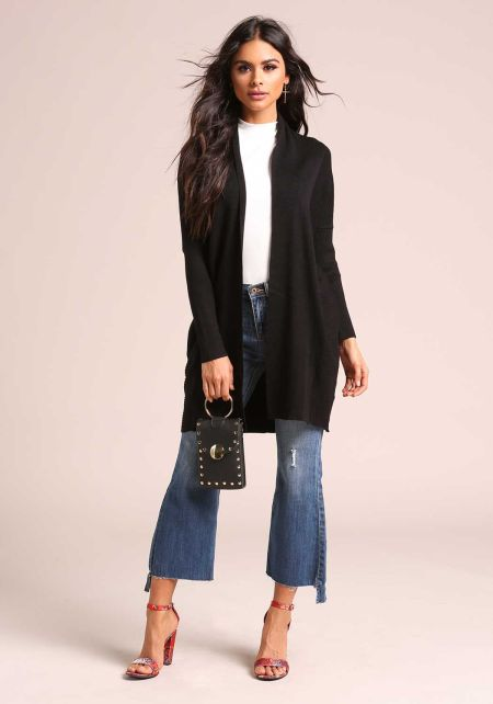 Black Light Ribbed Knit Cardigan