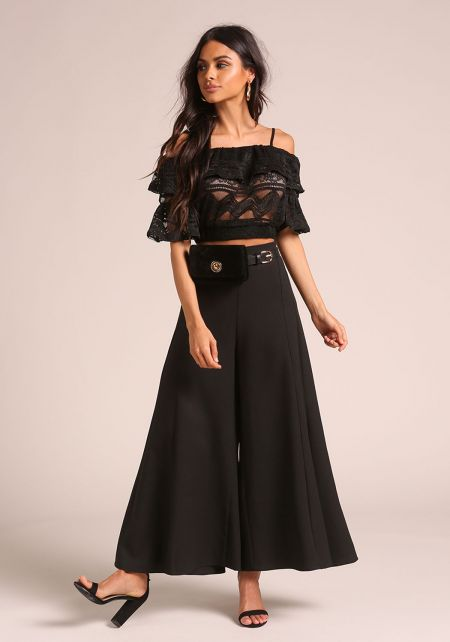 Black Embroidered Off Shoulder Crop Top