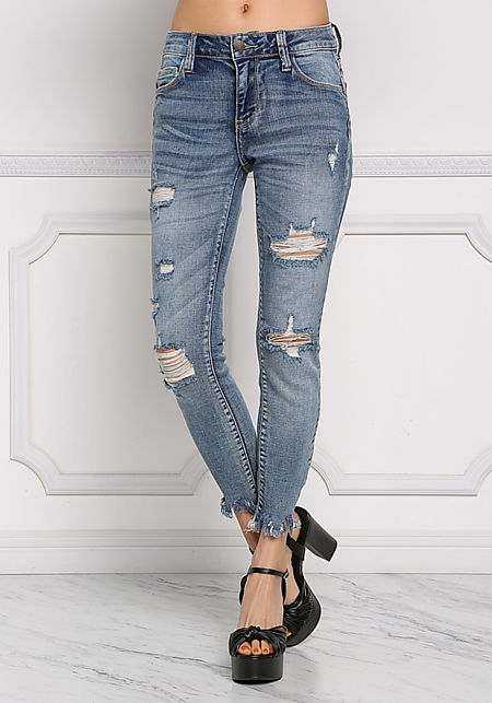 Denim Distressed & Frayed Skinny Jeans