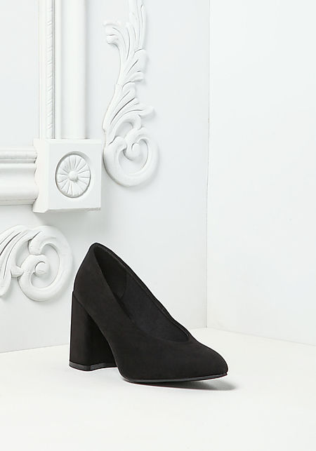 Black Suedette Pointed Toe Heels
