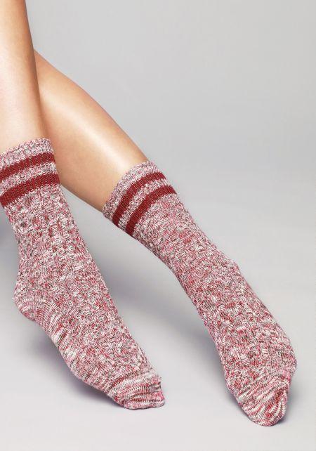 Burgundy Stripe Marled Knit Crew Socks