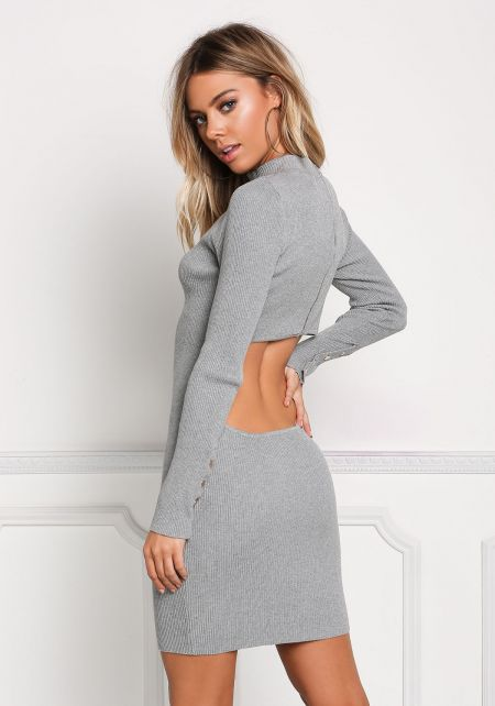 Heather Grey Back Cut Out Bodycon Dress
