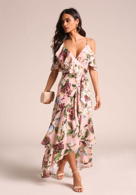 Floral Ruffle Faux Wrap Hi-Lo Maxi Dress