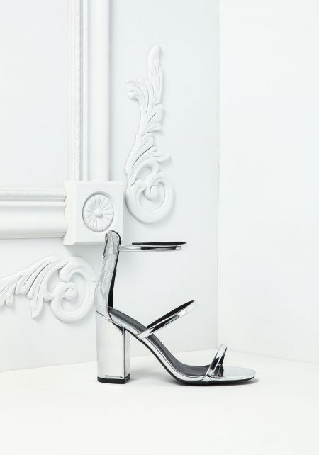Silver Chrome Three Strap Heels