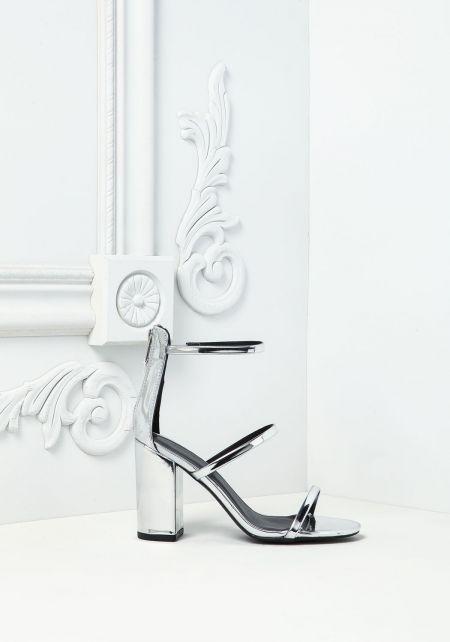 Silver Chrome Three Strap Heels