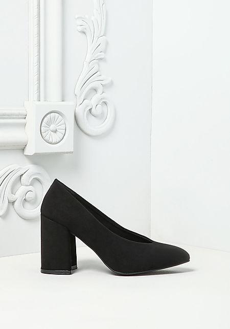 Black Suedette Pointed Toe Heels