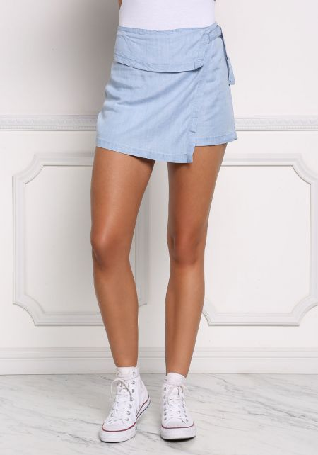 Light Denim Layered Skort