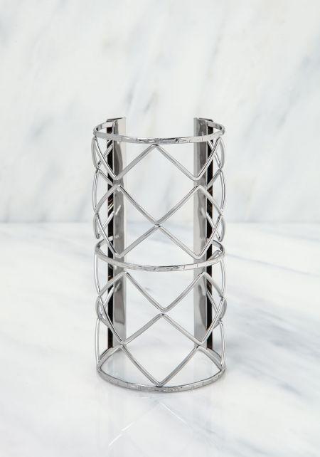 Silver X Cut Out Cuff Bracelet
