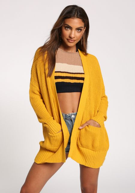 Mustard Pocket Open Front Knit Cardigan