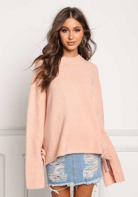 Blush Soft Knit Bell Sleeve Sweater