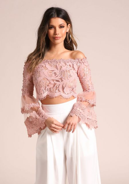 Blush Lace Bell Sleeve Off Shoulder Crop Top