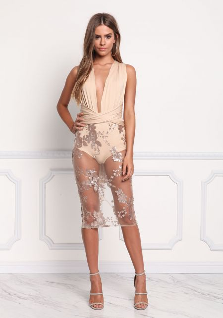 Nude Tulle Multi Wrap Sequin Bodycon Dress