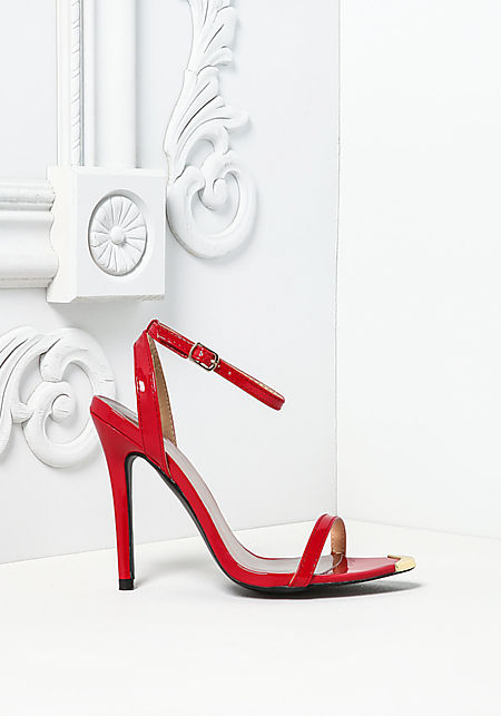 Red Patent Leatherette Pointed Ankle Strap Heels