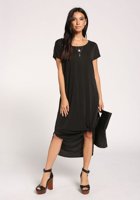 Black Knotted Shift Midi Dress