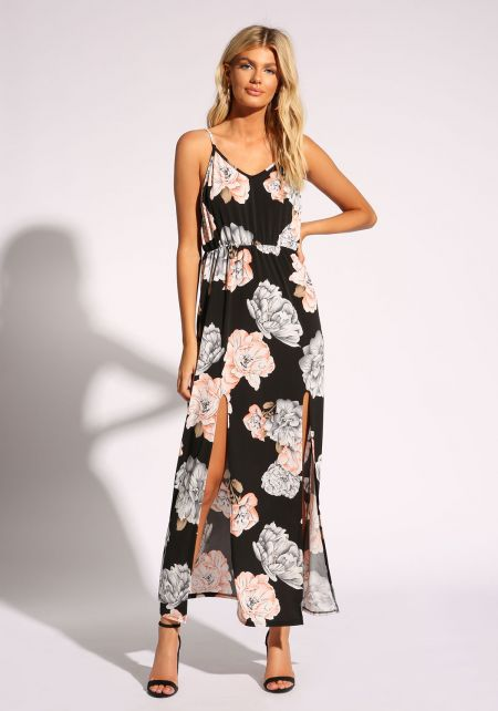 Black Floral Two Slit Maxi Dress