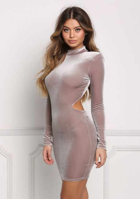 Taupe Velvet Open Back Bodycon Dress