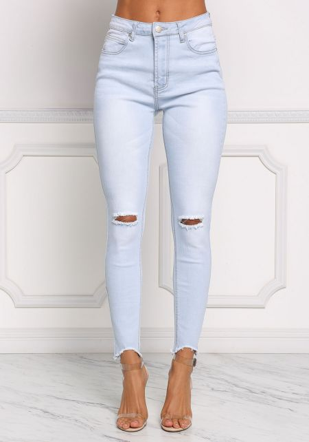 Light Denim Knee Slit Skinny Jeans