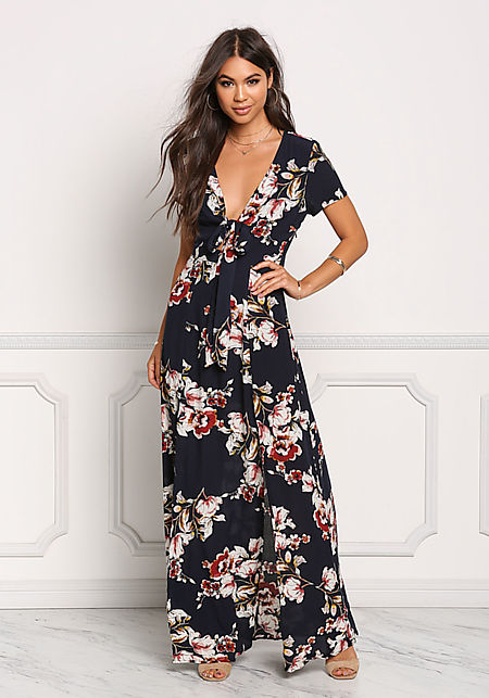 Navy Floral Crepe Two Slit Tie Front Maxi Dress