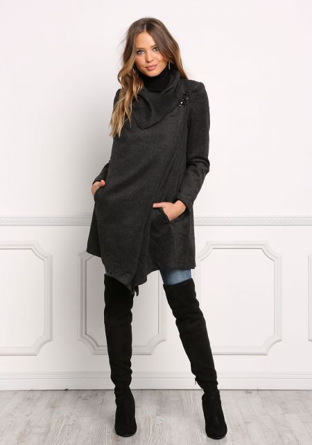 Charcoal Herringbone Cowl Neck Hook Coat