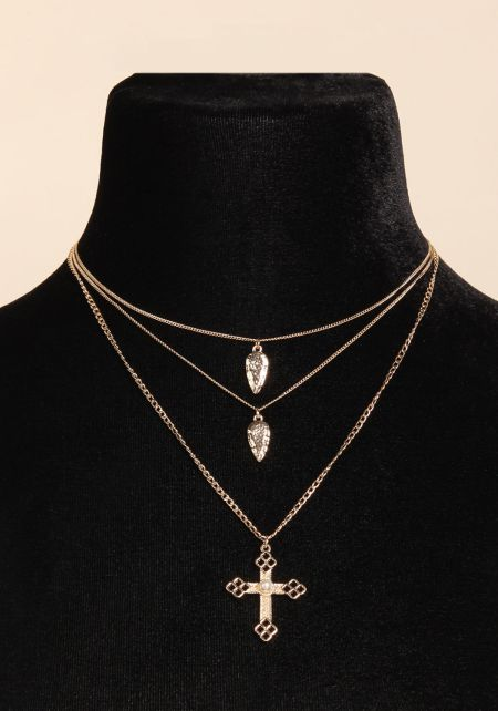 Gold Three Layered Cross Delicate Necklace