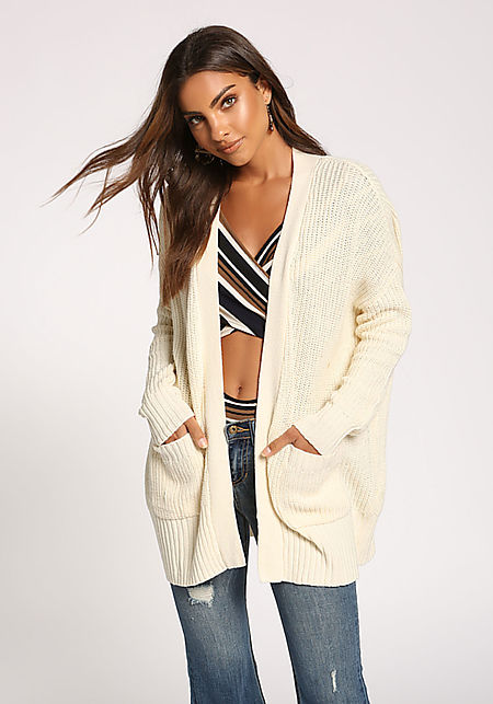 Cream Pocket Open Front Knit Cardigan