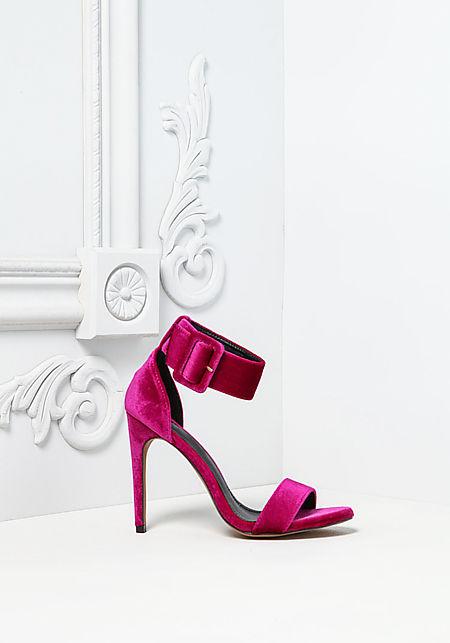 Purple Thick Ankle Strap Velvet Heels