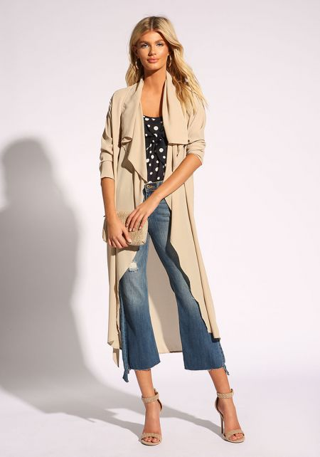 Taupe Waist Tie Duster Jacket