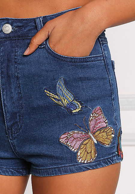 Denim Butterfly Embroidered High Rise Shorts