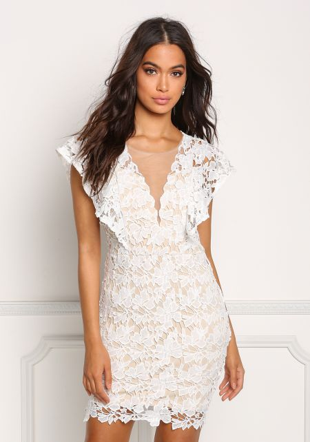 Ivory Tulle Floral Applique Plunge Dress