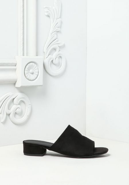 Black Suedette Slide Sandals