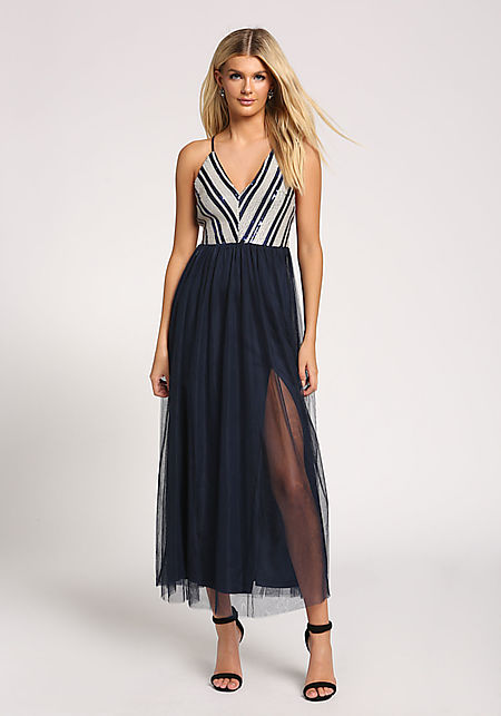 dda992d213c4 White Ruffle Strapless Bodycon Dress.  24.95. Navy Sequin Tulle Cross Strap  Maxi Gown ...