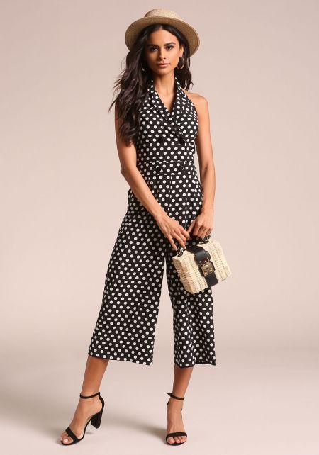 Black Polka Dot Double Breasted Halter Jumpsuit