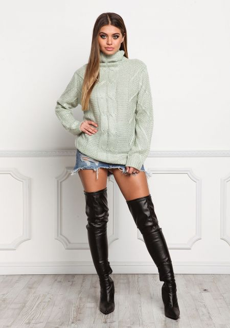 Sage Thick Cable Knit Turtleneck Sweater Top