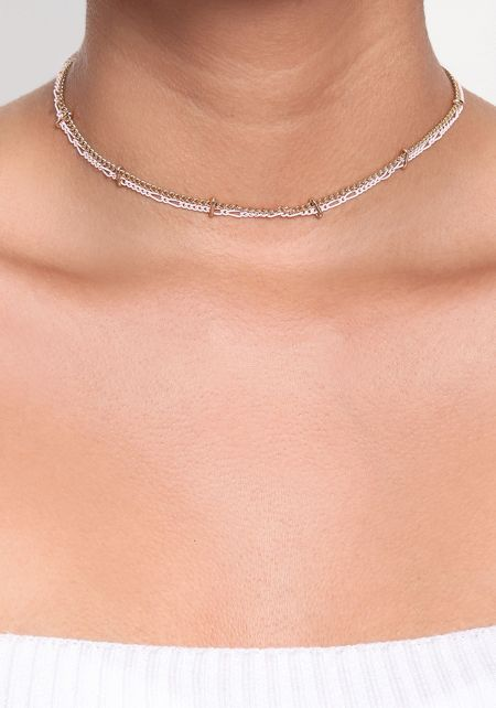 Pink Thin Two Chain Choker
