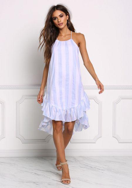 Light Blue Stripe Ruffle Hi-Lo Shift Dress