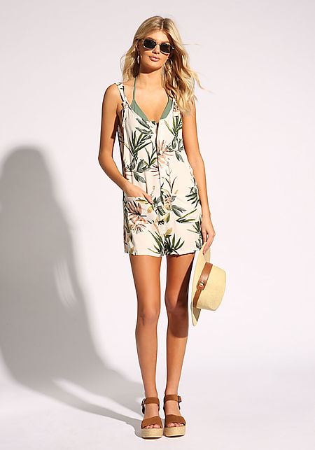 Cream Leaf Pocket Romper Overalls