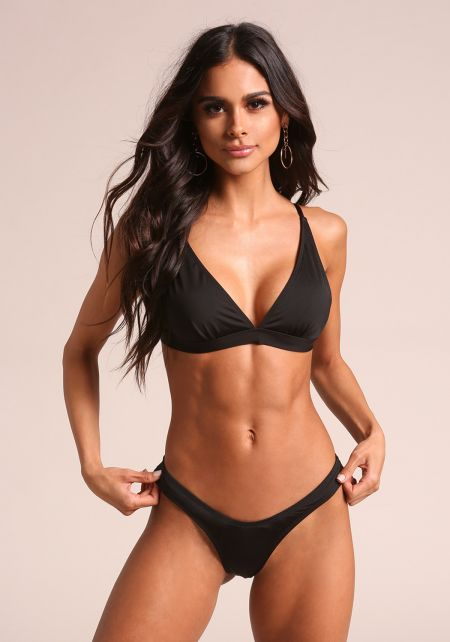 Black Metallic Swimsuit Bikini Bottoms