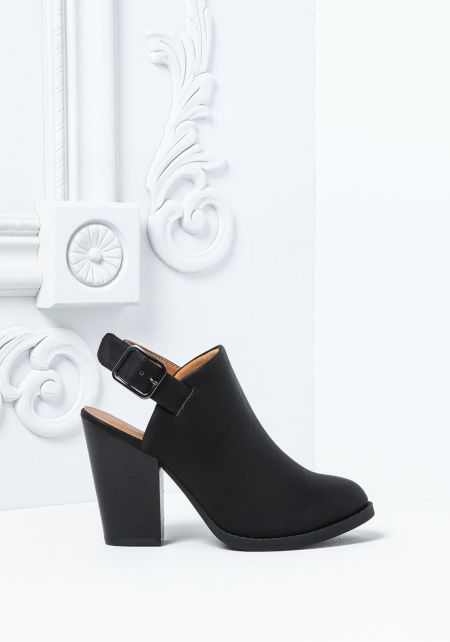 Black Ankle Strap Leatherette  Booties