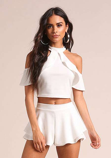 Ivory Layered Cold Shoulder Crop Top