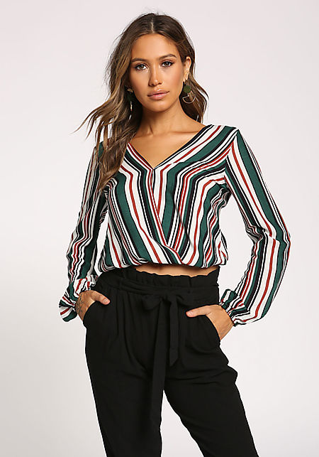 5ac9acf7e7b ... Ribbed Knit Crop Top. $29.95. Hunter Green Stripe Surplice Tie Back  Blouse ...