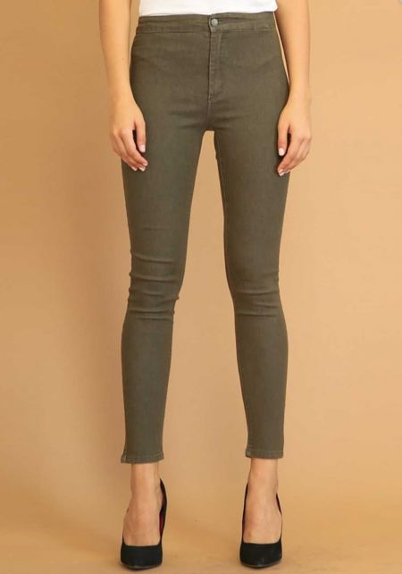 Olive High Rise Skinny Jeans