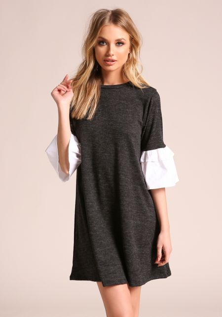Charcoal Two Tone Bell Sleeve Shift Dress
