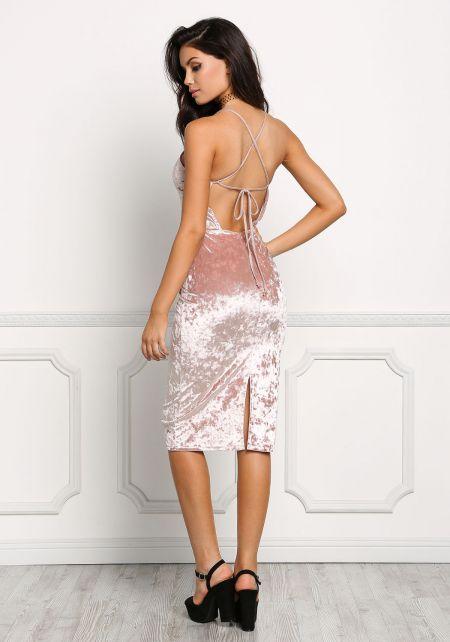 Blush Crushed Velvet Cross Strap Dress