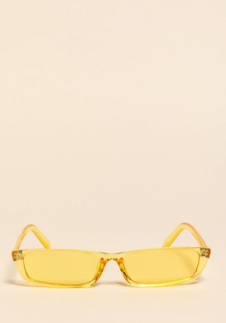 Yellow Clear Skinny Rectangular Sunglasses